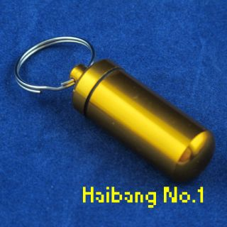 Mini Aluminum Pill Box Case Bottle Holder Container Key Ring BRANDNew