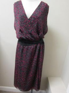 DKNYC Women Leopard Sleeveless Wrap Dress 2X Claret NWT $139