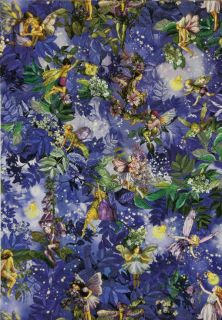 Nite Flower Fairies Allover Fabric in Shades of Beautiful Blue