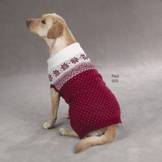 Zack Zoey Aspen Snowflake Dog Sweater Coat Red Blue Limited Sizes Sale