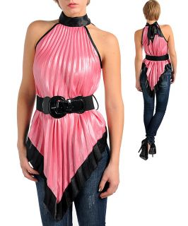 Misses Small Sexy Pink and Black Choker Halter Top with Belt 3 5 New