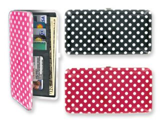 New Flat Full Size Clutch Polka Dot Dotz Wallets Red Black Pink 7x3