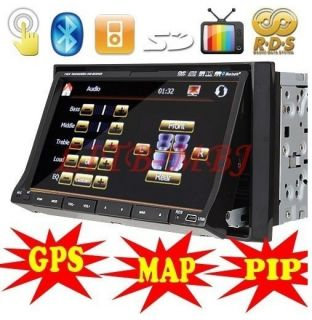 Double DIN 7 Car DVD Player GPS Nav BT Radio RDS iPod Bluetooth Pip
