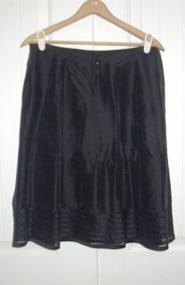 Ann Taylor Black Silk Skirt A Line Size 12 Lined Romantic Womens
