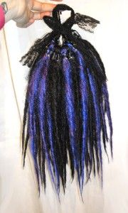 14 Blue Black Purple Pony Dread Wig Hairfalls Goth Emo Fairy Alt
