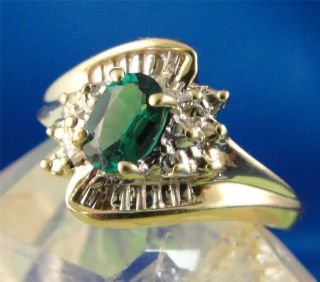 Estate Solid 10K Yellow Gold Emerald Diamond Fashion Ring Band $1 No
