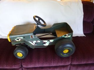 VintageBlack Metal Childs Peddle Jeep Car