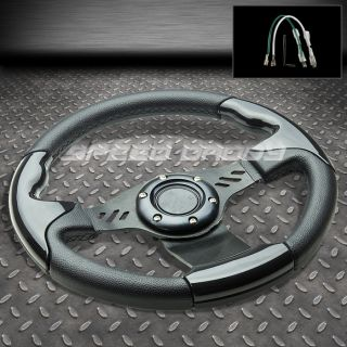 LEATHER LIGHT ALUMINUM 6 HOLES RACING/DRIFTING STEERING WHEEL BLACK