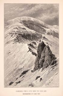 1892 Wood Engraving Chimborazo Edward Whymper Volcano Mountain Andes