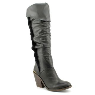 Lucky Brand Edina Womens Size 7.5 Black Leather Fashion   Knee High