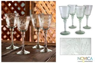 Etched Floral Mex Hand Blown Wine Glasses Set Novica