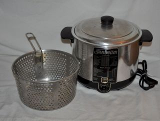 SUNBEAM CF 5 CHROME ELECTRIC COOKER DEEP FRYER Retro Fish WORKS GREAT