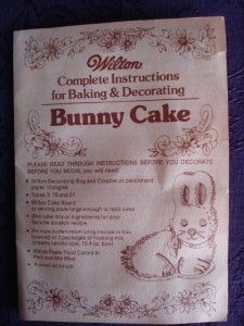 Vintage Wilton 3D Bunny Cake Pan w Instructions 1974