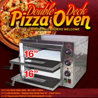 XL Double 16 Electric Pizza Oven Ceramic Stone Deck 220V Commercial