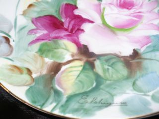 Hand Painted Signed Elshigura German Porcelain Decorative Floral Plate