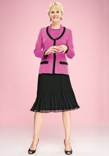 Exclusively MISOOK Hot pink + black ruffle jacket / cardigan PL petite