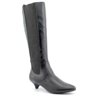 Envy Over Do Womens Size 8 Black Leather Fashion   Knee High Boots