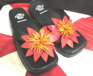 ESPACE BLACK LEATHER FLIP FLOP THONG SANDALS RESORT LEATHER FLOWER