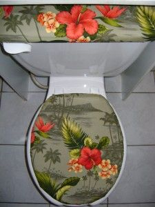 tropical palm tree fabric toilet seat cover set