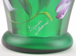 Fenton Art Glass Collectible Green Carnival Vase Designer Showcase