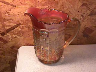 Fenton Carnival Glass Pitcher Berry Butterfly
