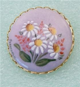 Vtg Hand Painted Daisies Floral Signed Fessenden Brooch