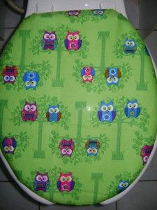 adorable green owl fabric toilet seat cover set