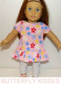 Doll Clothes Fit American Girl McKenna Pink Flower Kringle Dress White