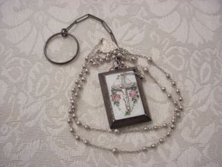 ART DECO STERLING SILVER ENAMEL GUILLOCHE ROSARY LOCKET w FINGER CHAIN
