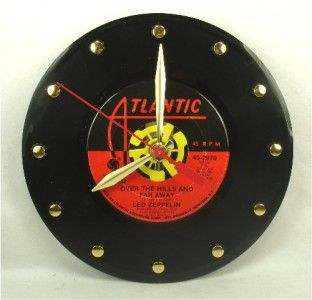 LED ZEPPELIN Over The Hills And Far Away   Recycled Vinyl Record Clock