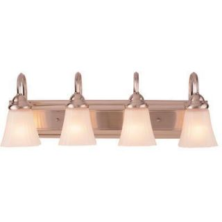 Hampton Bay 4 Light Square Plate Bathroom Fixture Frosted Glass Brush