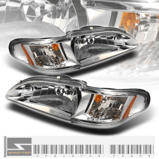 94 98 FORD MUSTANG COBRA GT 1PC CLEAR HEADLIGHTS w CORNER CHROME