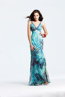 Faviana 6918 Aqua Print Evening Gown Prom Dress Size 6 New NWT Pageant