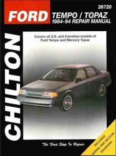 Ford Tempo and Mercury Topaz Repair Shop Service Manual 1991 1992 1993