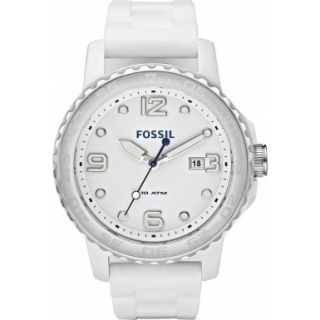 Fossil White Dial White Ceramic Case Silicone Band Womens Watch CE5002
