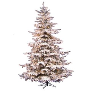 Vickerman Flocked Sierra Fir 7 5 Artificial Christmas Tree with Clear