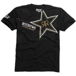 Fox Racing Rockstar Golden s s T Shirt Tee Black Adult Size Medium M