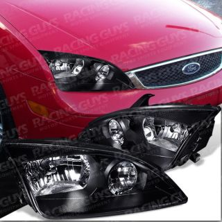 05 07 Ford Focus Black Euro Clear Headlights ZX4 St New