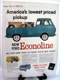 Ford Econoline Van Pickup Vintage Original Ad Backed Protected