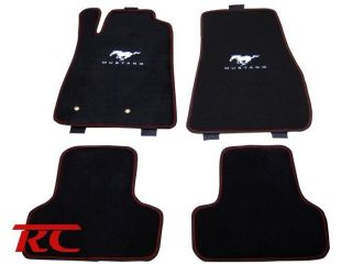 FORD MUSTANG BLACK CARPET FLOOR MATS CARPET RED STITCH NEW 4PCS HRS