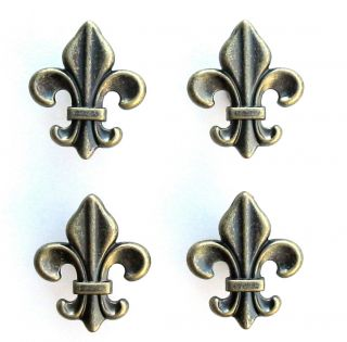 Four 4 Antique Brass Cabinet Drawer Pulls Fleur de Lis Knobs