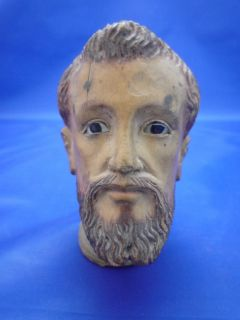 Saint Francis Hand Carved Head Glass Eyes 19 Century Vietnam