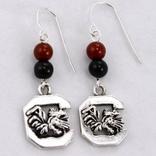click an image to enlarge south carolina gamecocks logo earrings wear