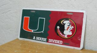Miami Hurricanes Florida State Seminoles License Plate  House Divided