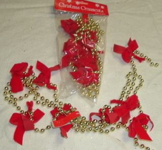 Red Velvet Bows Gold Bead Christmas Garlands 5166