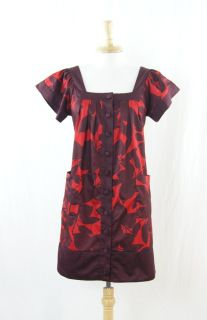 French Connection Red, Wine Floral Square Neck Shift Dress Size 4