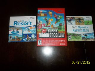 wii game lot new super mario bros wii sports wii sports resort all
