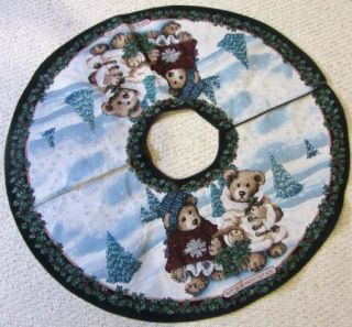 & Friends Edmund & Bailey Bear Christmas Tapestry Tree Skirt Retired
