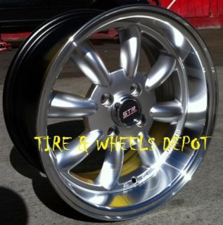15 INCH STR503S SILVER/MEC RIMS AND TIRES 4X100 ACCORD CIVIC FIT
