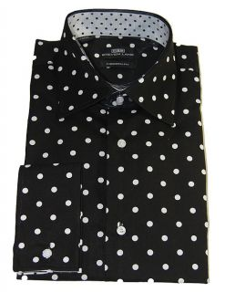 Steven Land Black White Polka Dots Fashion Dress Shirt French Cuffs